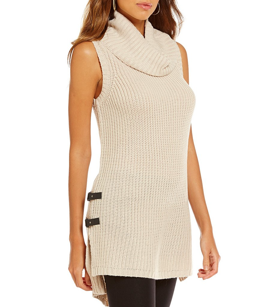 I.N. San Francisco Sleeveless Cowl-Neck Tab Side High-Low Sweater