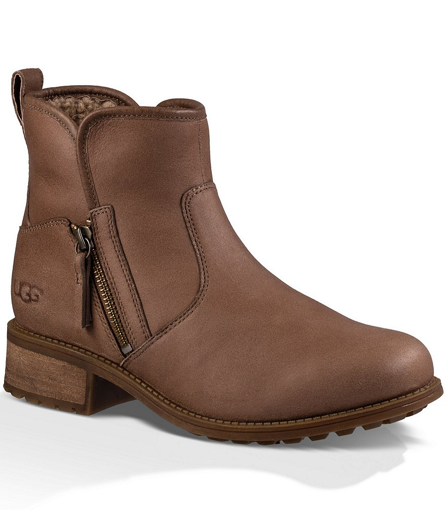 UGG® Lavelle Side Zip Water-Resistant Leather Booties