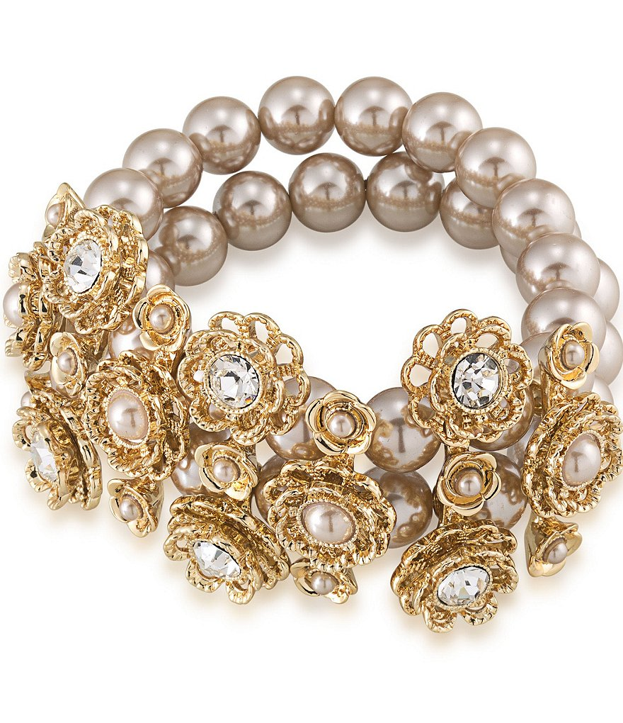 Carolee Union Square Faux-Pearl Wide Stretch Bracelet