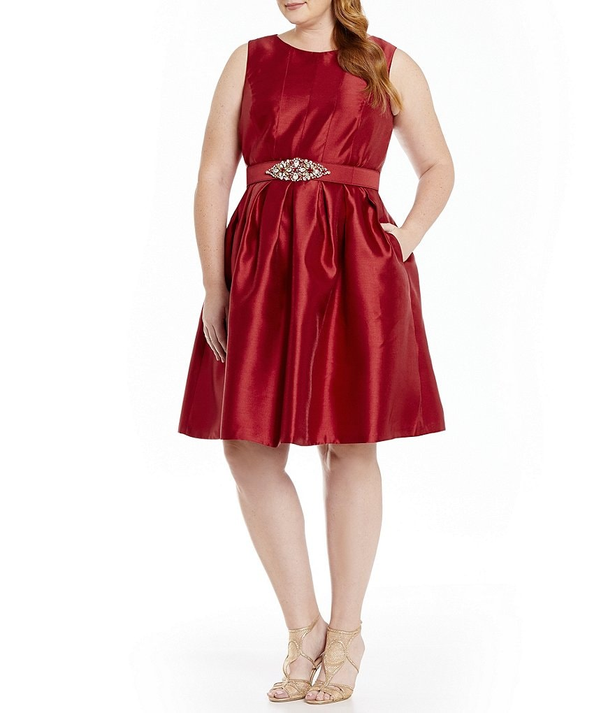 Eliza J Plus Beaded Belt Fit-and-Flare with Pockets Dress