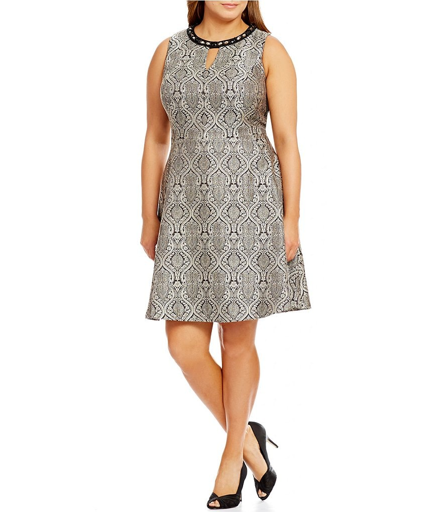 London Times Plus Beaded-Neck Fit-and-Flare Dress