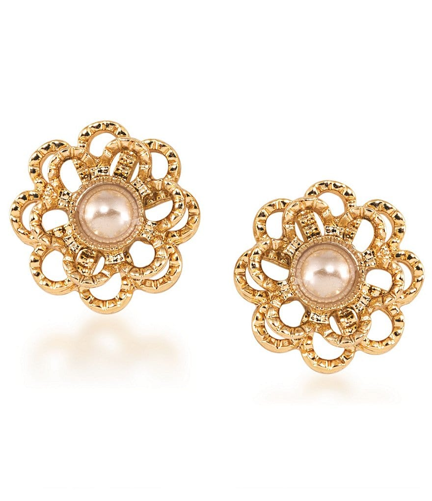 Carolee Union Square Faux-Pearl Flower Stud Earrings