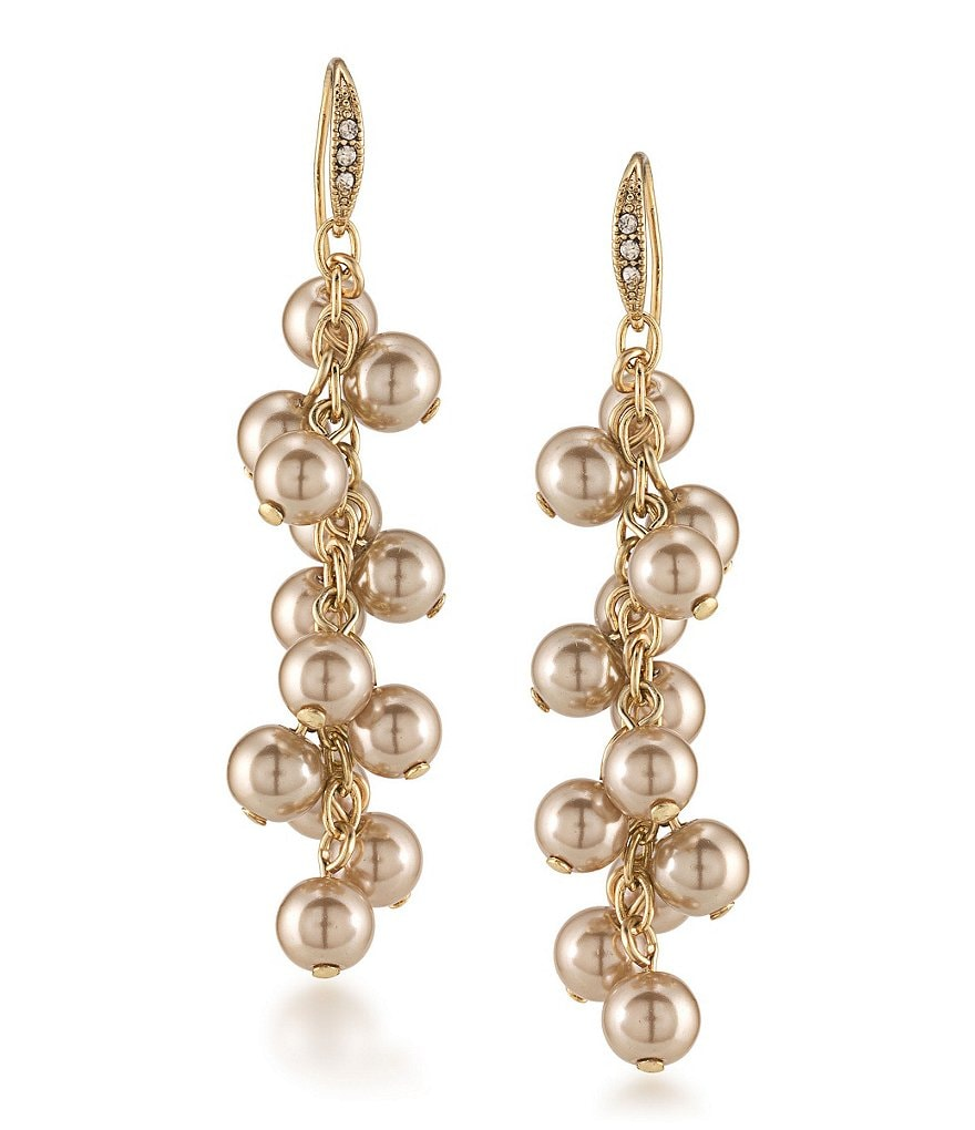 Carolee Union Square Faux-Pearl Cluster Linear Drop Earrings