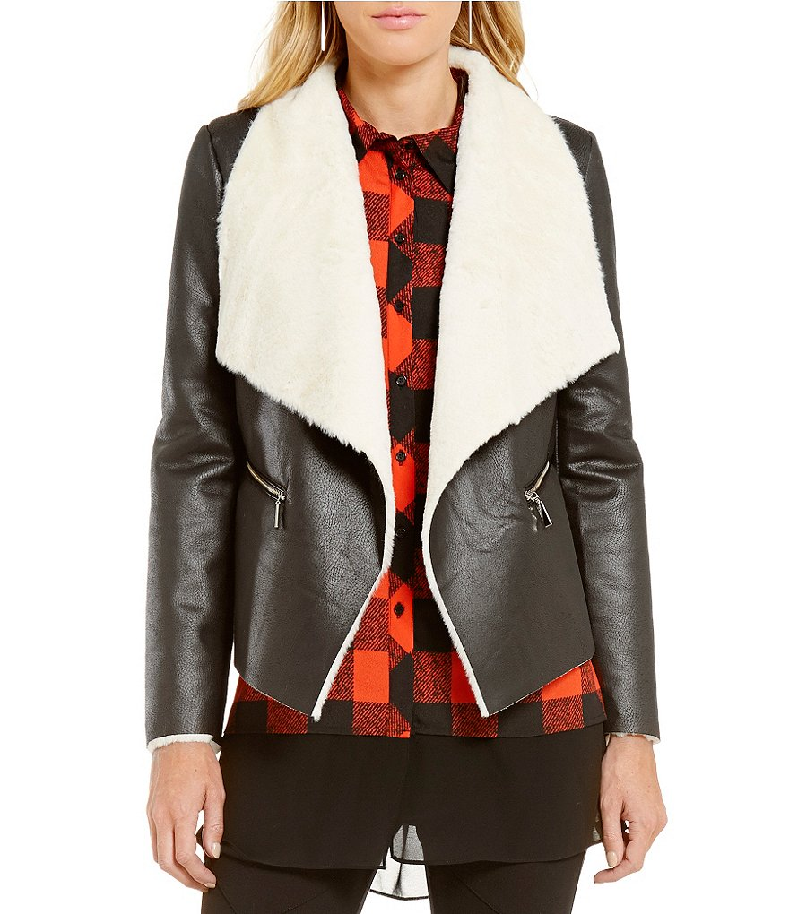 Gianni Bini Shane Faux Fur Moto Shearling Jacket