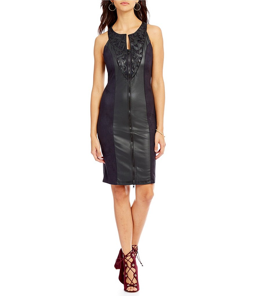 Buffalo David Bitton Sleeveless Faux-Leather Zip Dress