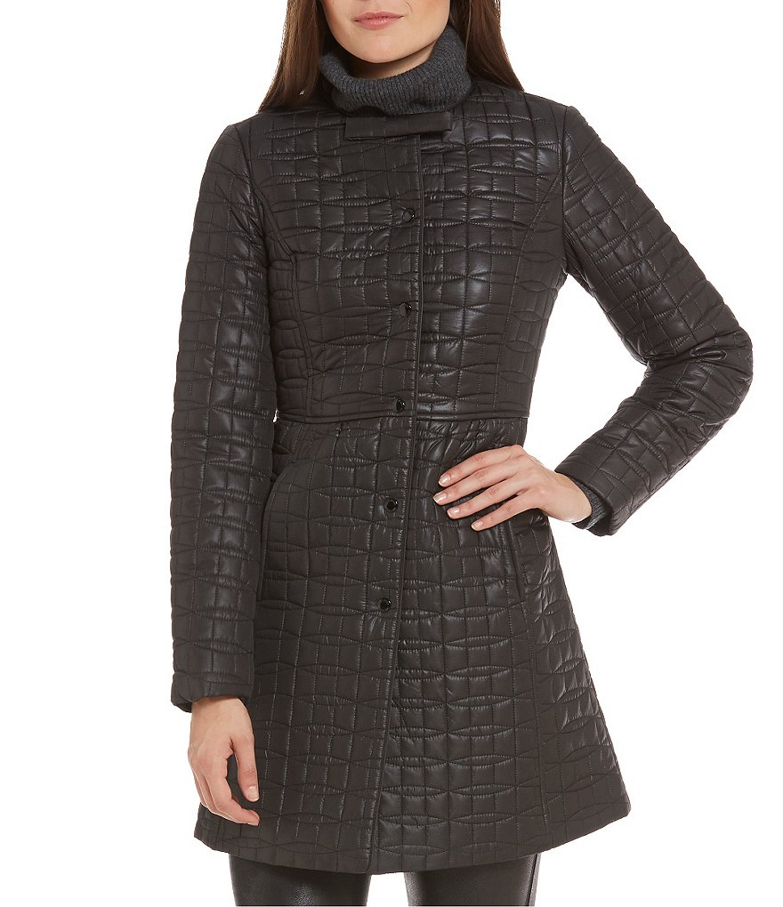 kate spade new york Fit-and-Flare Quilt Packable Coat With Bag
