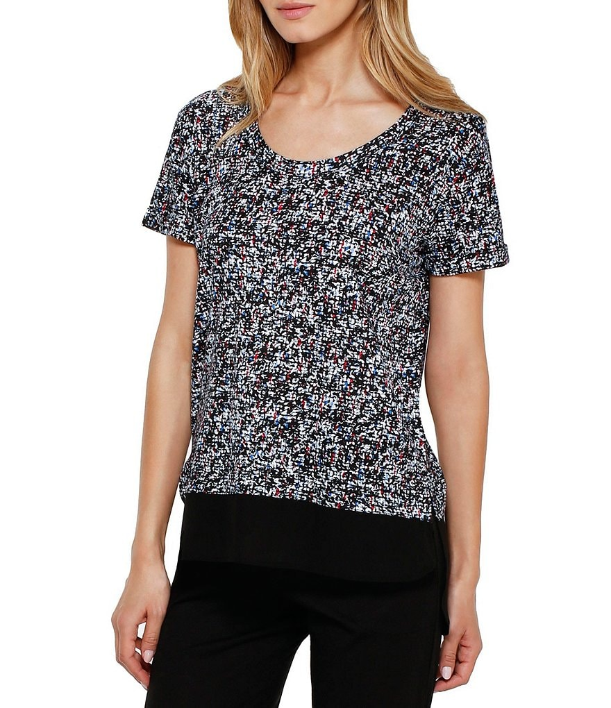 DKNY Abstract Slub Jersey and Chiffon Sleep Top