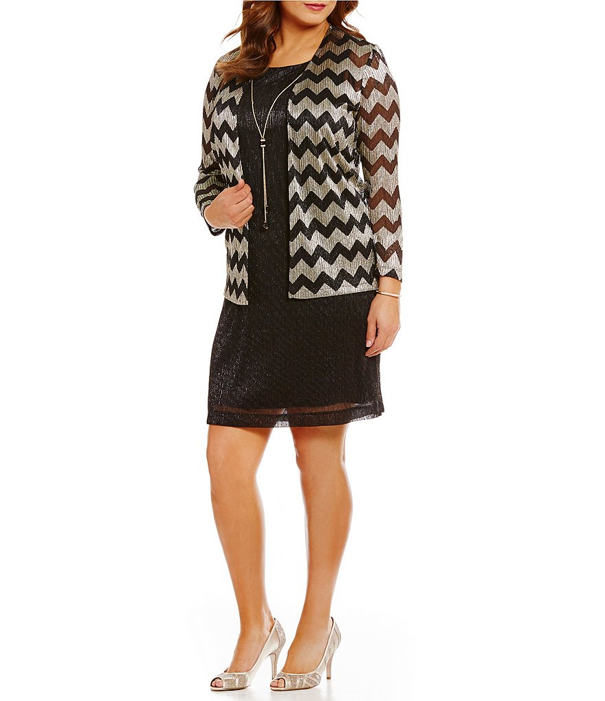 Jessica Howard Plus 2-Piece Necklace Chevron-Print Jacket Dress