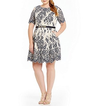 Eliza J Plus Belted Illusion Contrast Lace Fit-and-Flare Dress