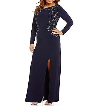 Alex Evenings Plus Embroidered Lace-Bodice Long Sleeve Front Slit Gown