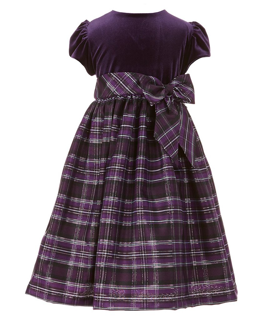 Jayne Copeland Little Girls 2T-6X Velvet-Plaid Dress