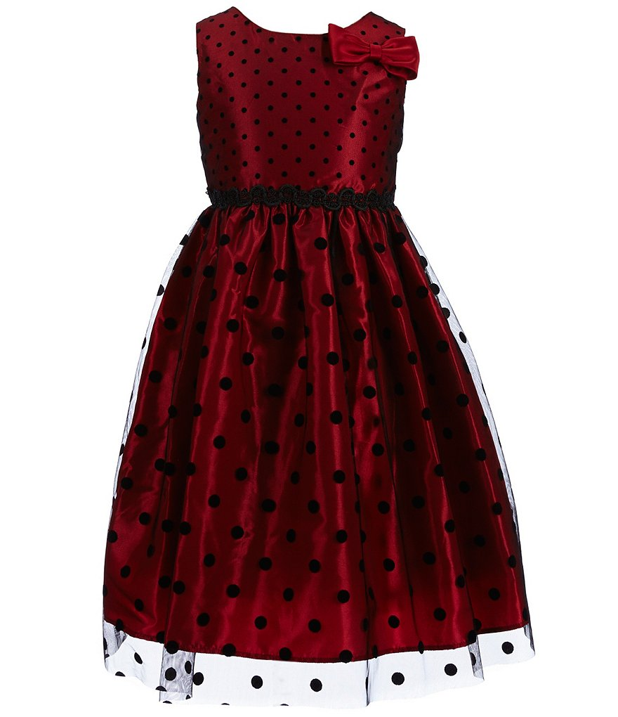 Jayne Copeland Little Girls 2T-6X Dotted Print Bow Dress