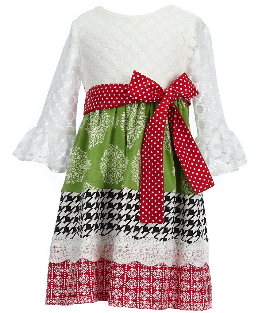 Counting Daisies Little Girls 2T-6X Christmas Mixed-Print Dress