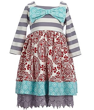 Counting Daisies Little Girls 2T-6X Mixed-Print Bow Dress
