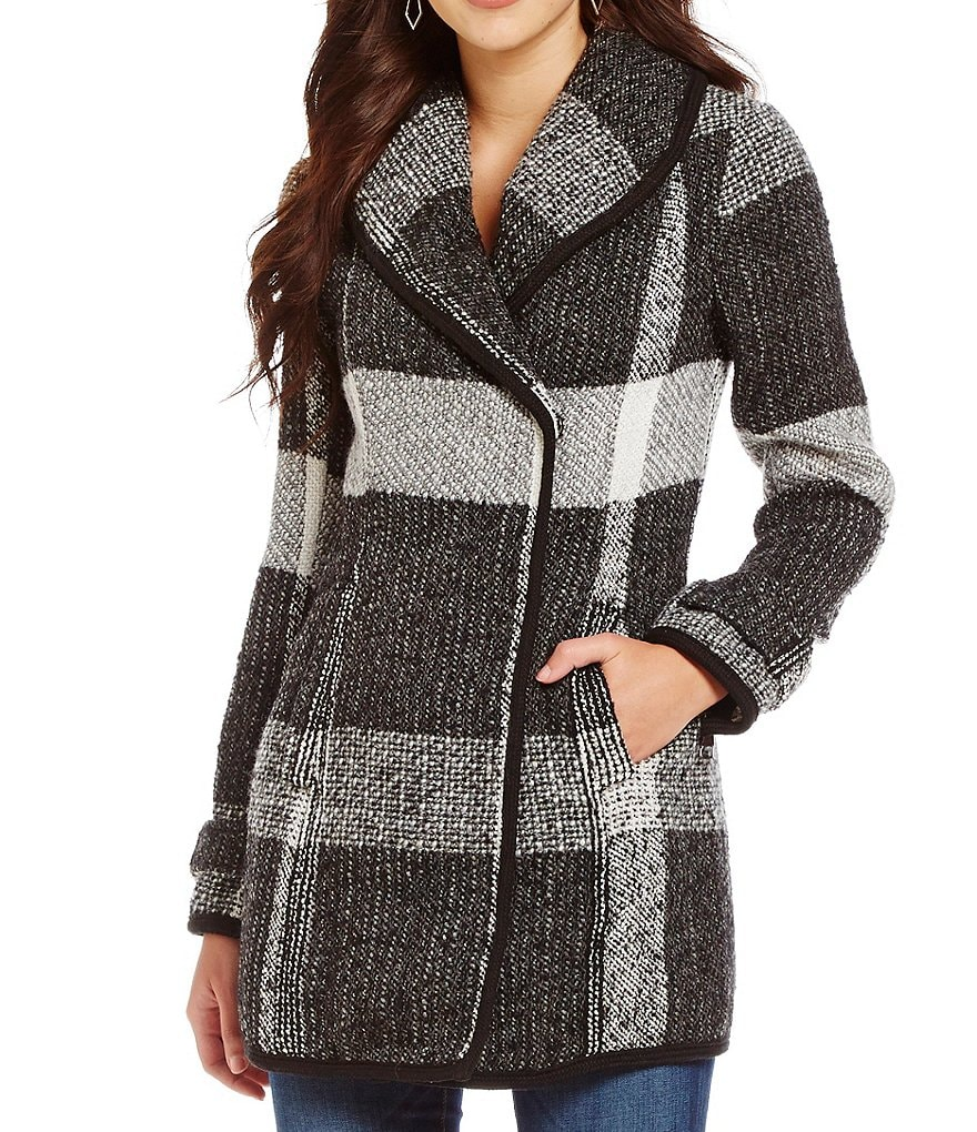 Guess Double Breasted Wool Plaid Shawl Collar Coat