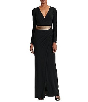 Lauren Ralph Lauren Jersey Gold-Waist Long Sleeve Gown