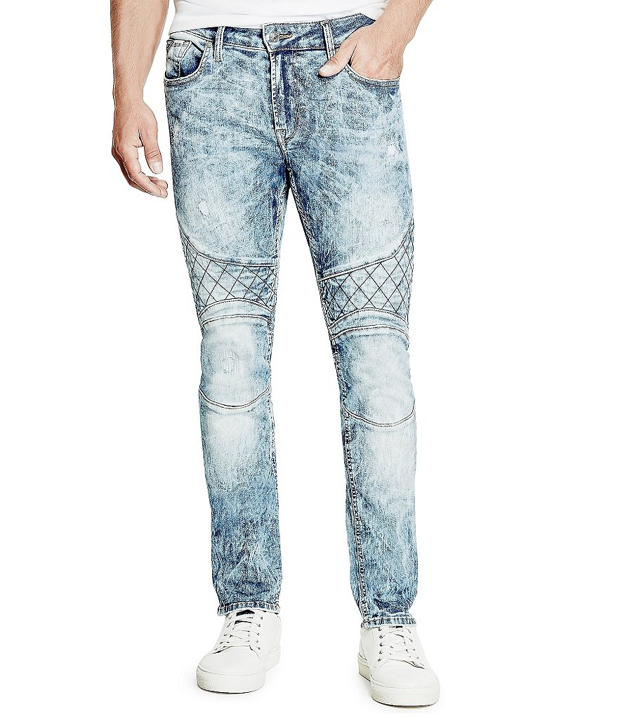 Guess Skinny Distressed Motorcycle Jeans
