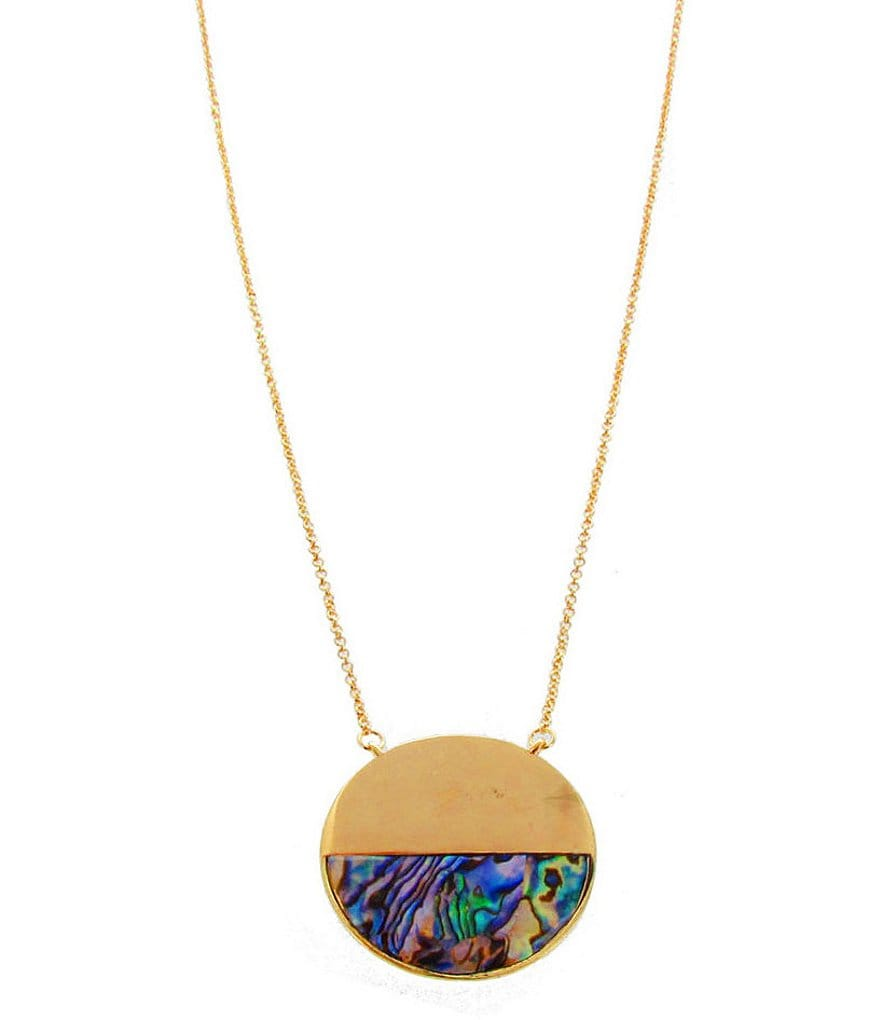 Panacea Abalone Shell Half Moon Pendant Necklace