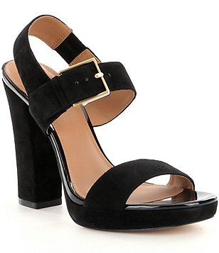 Calvin Klein Bette Suede Banded Slingback Block Heel Dress Sandals