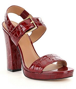 Calvin Klein Bette Crocodile Patent Leather Buckle Ankle Strap Dress Sandals