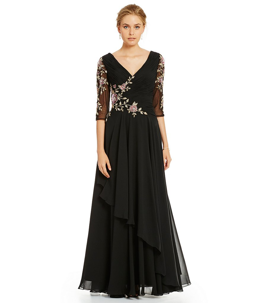 Lasting Moments Floral Beaded V-Neck 3/4 Sleeve Chiffon Gown