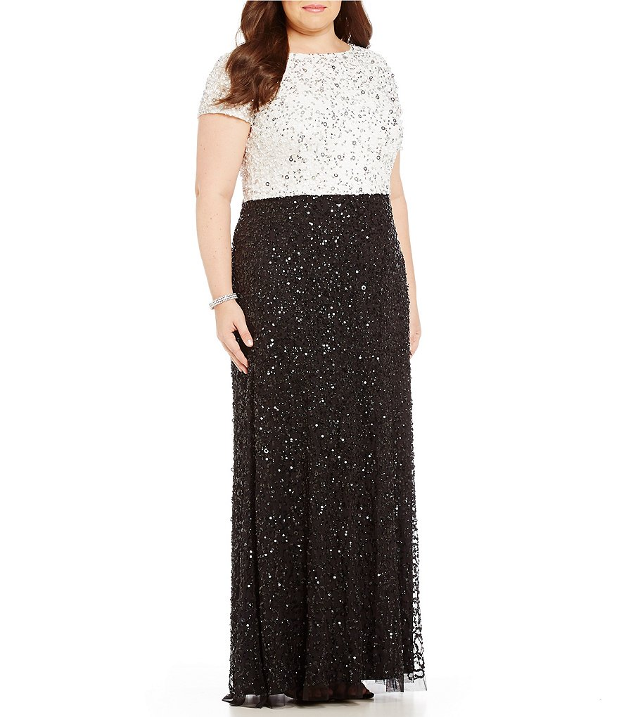 Adrianna Papell Plus Beaded Colorblock Gown