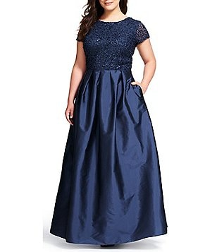 Adrianna Papell Plus Sequin Short Sleeve Taffeta Ball Gown