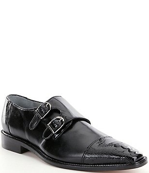 Belvedere Men´s Amico Double Monk Strap Ostrich and Calfskin Dress Shoes