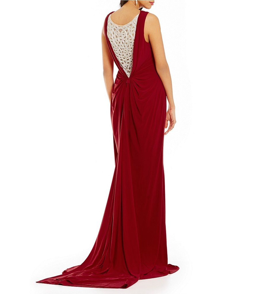 Lasting Moments Beaded Illusion Back Drape Gown