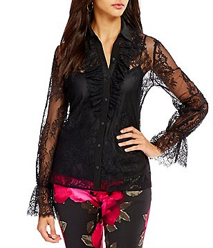 Trina Turk Exuberant Lace Long Sleeve Top