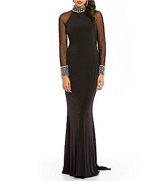 Lasting Moments Beaded High Neck Illusion Gown