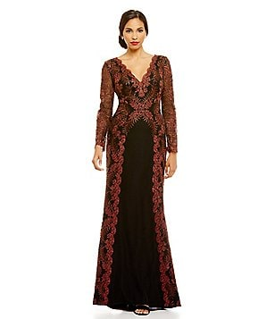 Tadashi Shoji Scalloped Deep V-Neck Embroidered Lace Gown