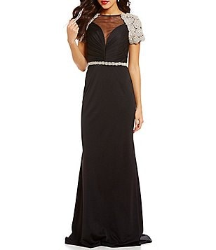 Lasting Moments Boat Neck Beaded-Shoulder Gown