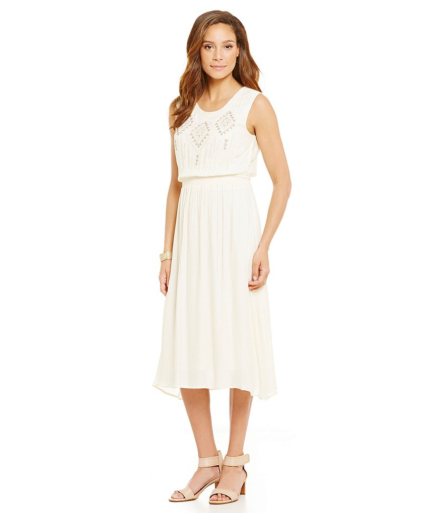Nurture Embroidered Sleeveless Midi Dress