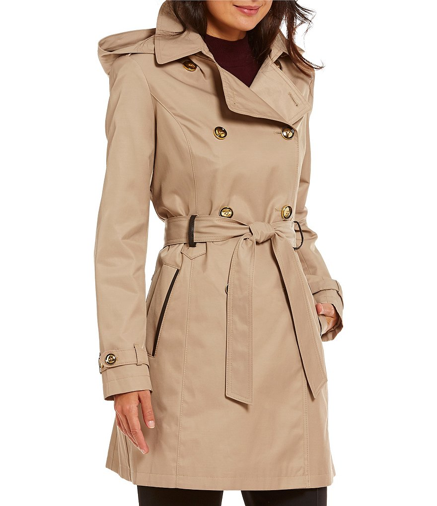 Preston & York Notch Collar Trench Coat With Detachable Hood