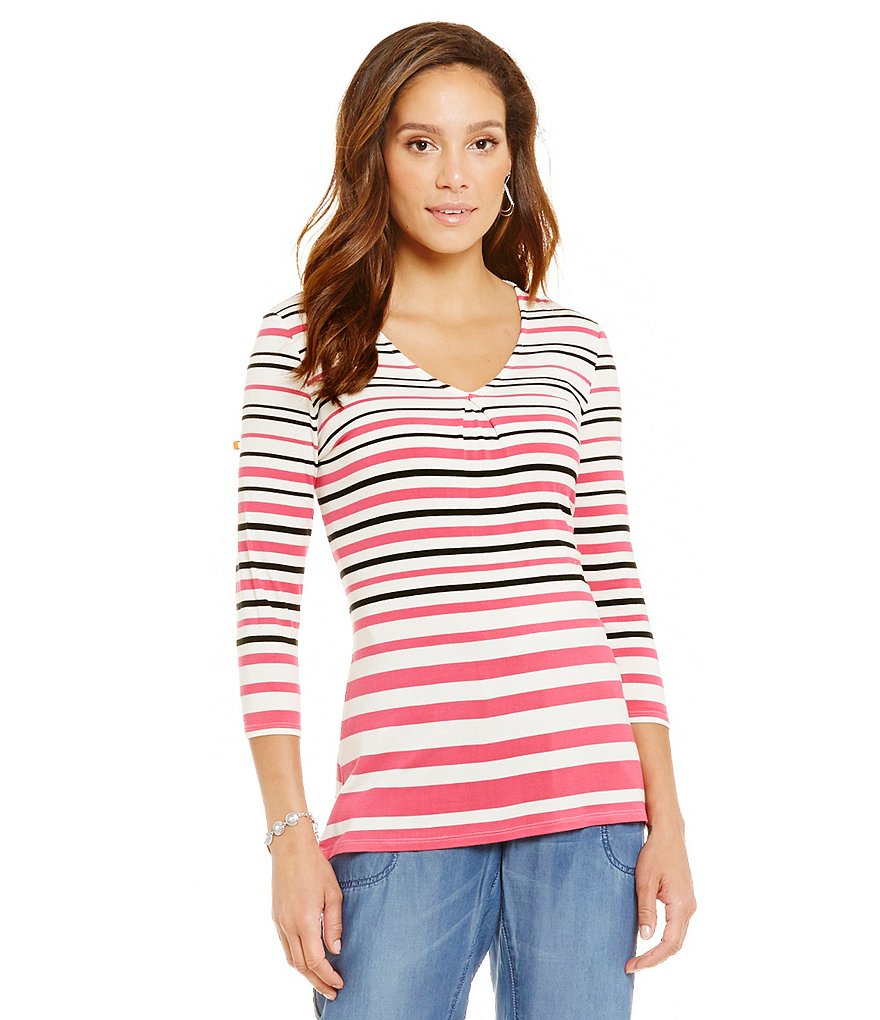 Nurture Multi Stripe 3/4 Sleeve Top