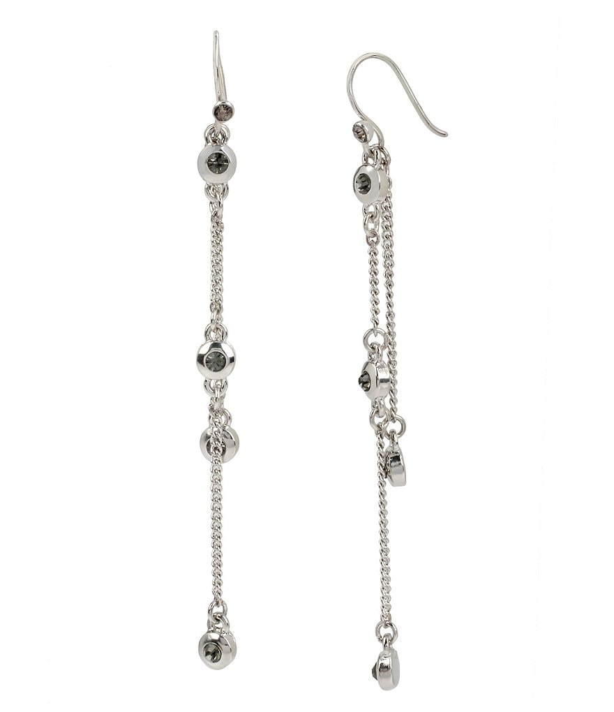 Kenneth Cole New York Black Diamond Linear Chain Earrings
