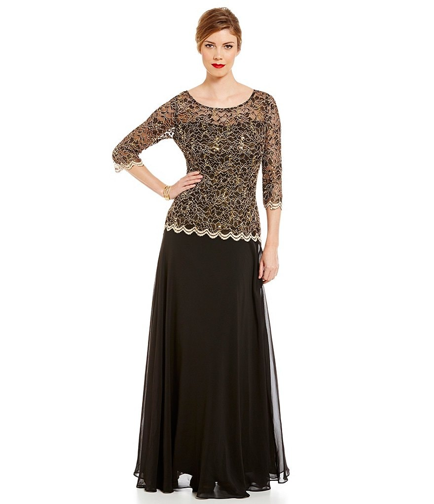 Sangria Sequin Metallic Lace Chiffon Two-Piece Gown
