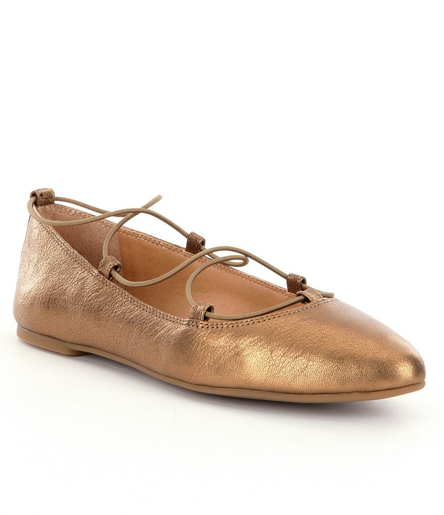 Lucky Brand Aviee Metallic Leather Criss Cross Elastic Flats