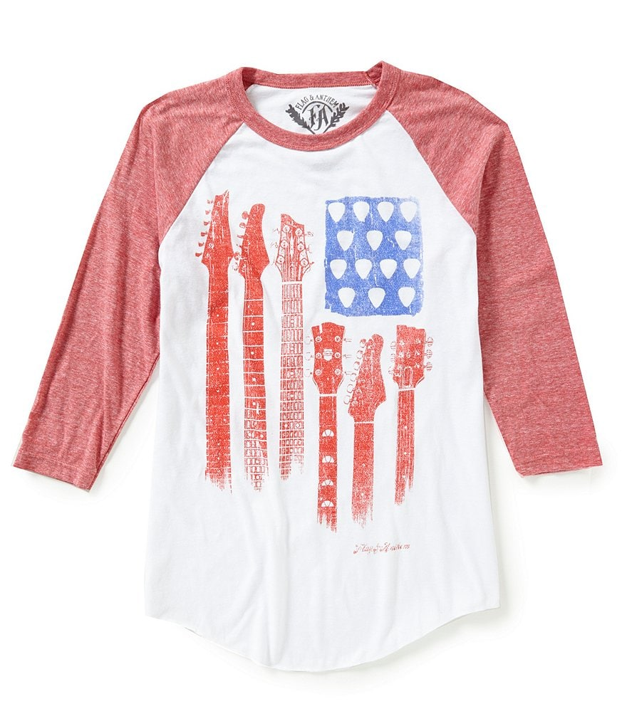 Flag & Anthem Guitar Flag Raglan-Sleeve Color Block Graphic Tee