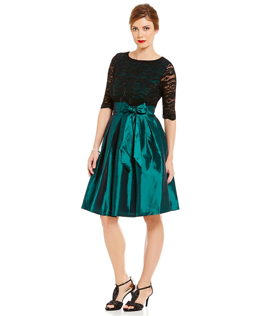 Sangria Illusion Lace Fit-and-Flare Belted Taffeta Party Dress