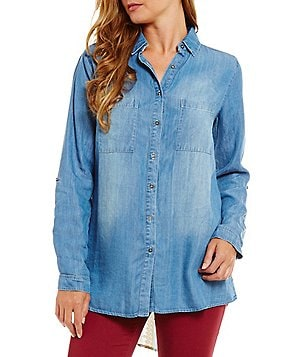 Coco + Jaimeson Mixed-Media Printed Back High-Low Hem Chambray Shirt