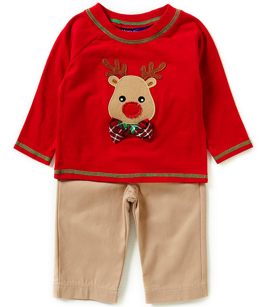 Matt´s Scooter Baby Boys Newborn-24 Months Christmas Reindeer-Appliqued Knit Top & Solid Twill Pant Set