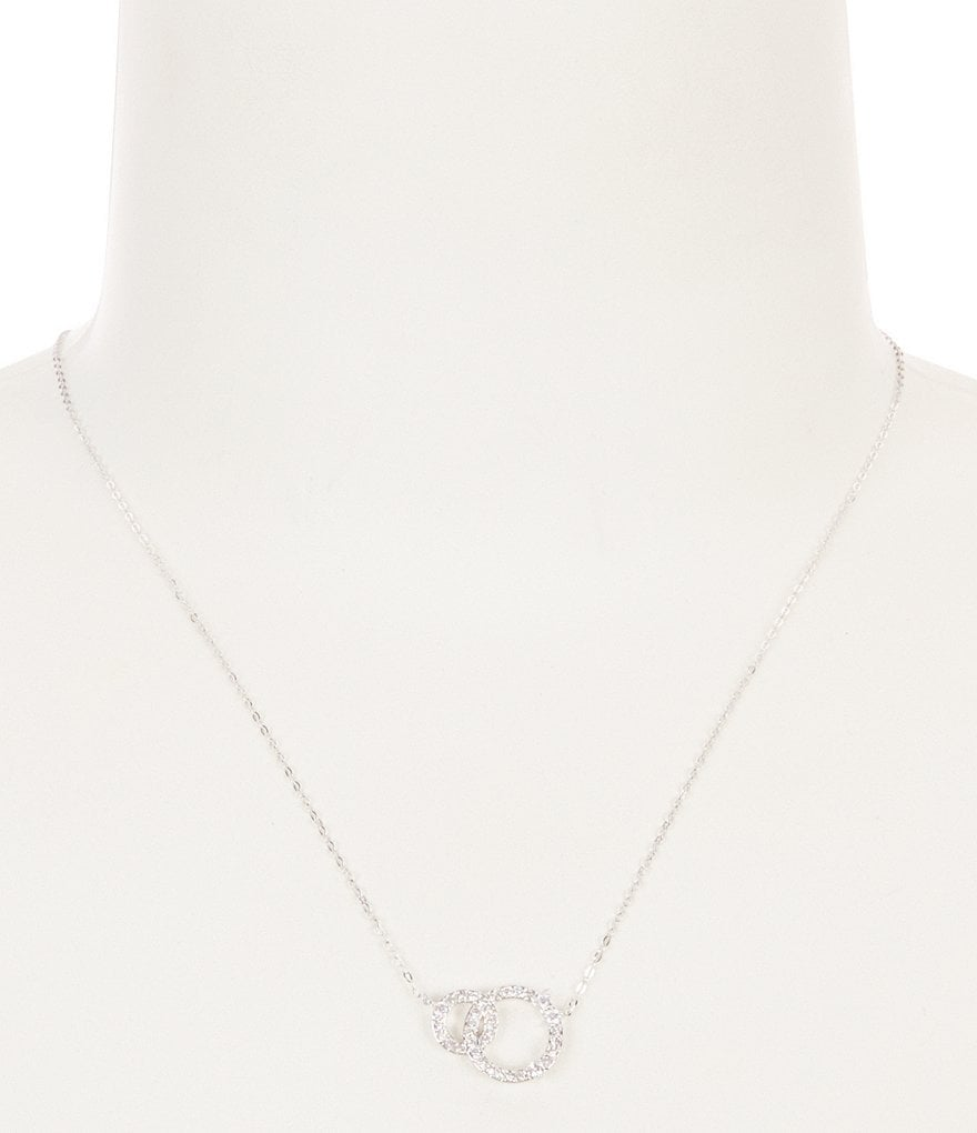 Nadri Halo Cubic Zirconia Linked Circle Pendant Necklace