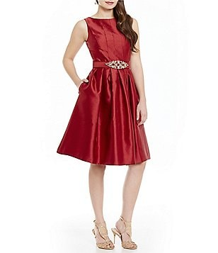 Eliza J Beaded Belt Midi Fit-and-Flare Dress