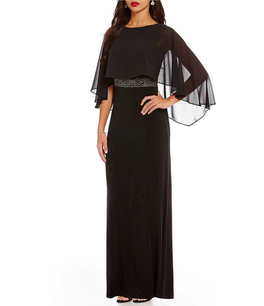 Sangria Crepe Sheer Overlay Sleeveless Embellished Waist Gown