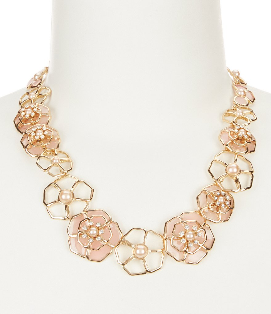 kate spade new york Sunset Blossoms Faux-Pearl Floral Collar Necklace