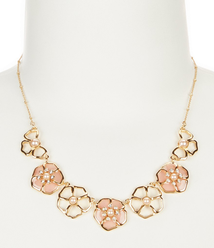 kate spade new york Sunset Blossoms Faux-Pearl Floral Frontal Collar Necklace