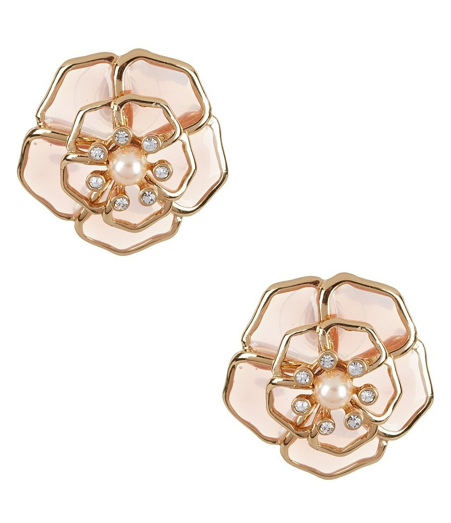 kate spade new york Sunset Blossoms Faux-Pearl Floral Stud Earrings