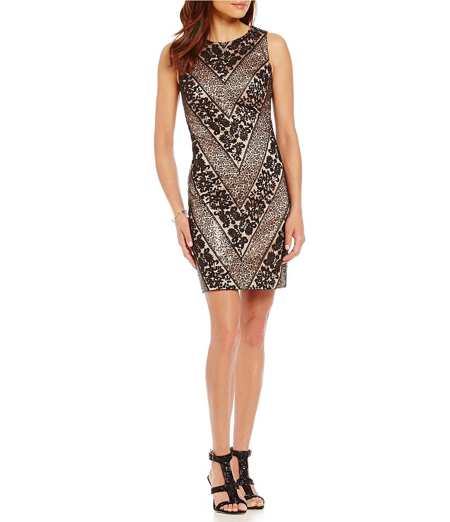 Vince Camuto Lace Sequin Sheath Dress